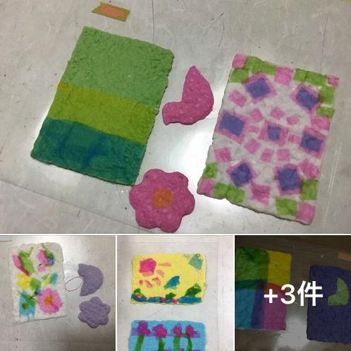 造形クラス 幼児クラス「紙すき」