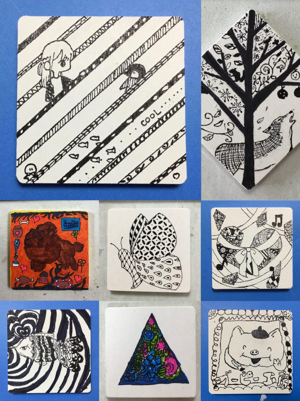 絵画クラス・ゼンタングルでコースターに絵を描こう